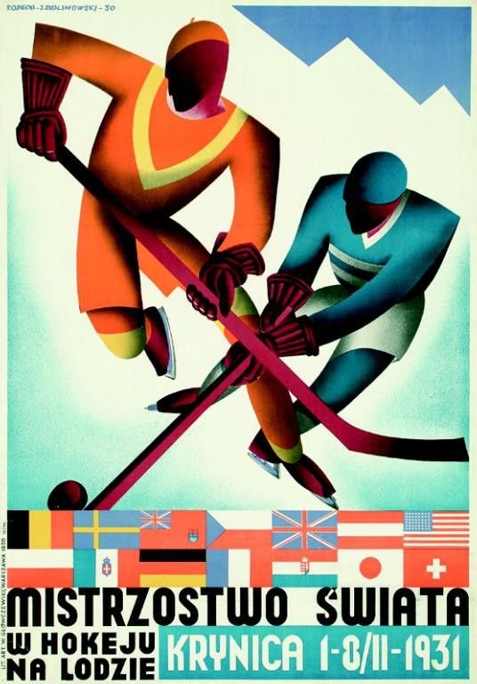 Mistrzostwo Swiata: Krynica by Stefan Osiecki and Jerzy Skolimowski, 1930.  For the 1931 Ice Hockey World Championships in  Krynica, Poland.