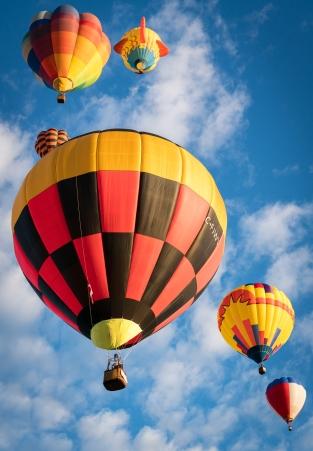 Balloons in sunlight